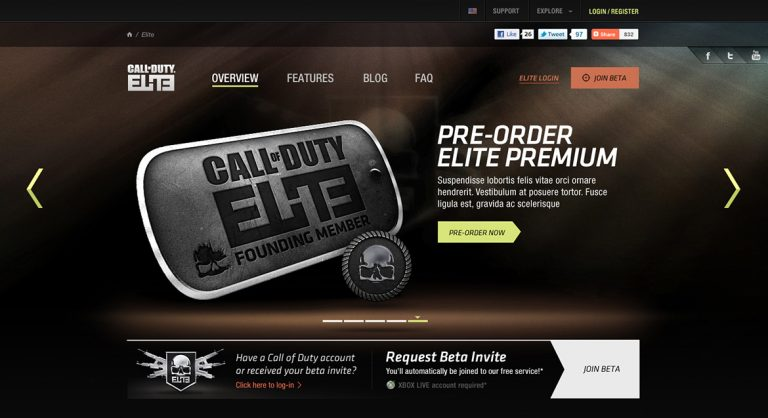 Call of Duty Elite Beta Website