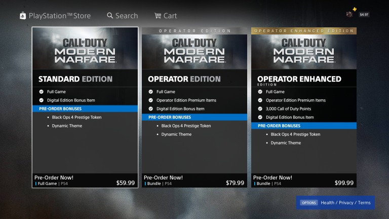 COD MW PreOrders On PSN