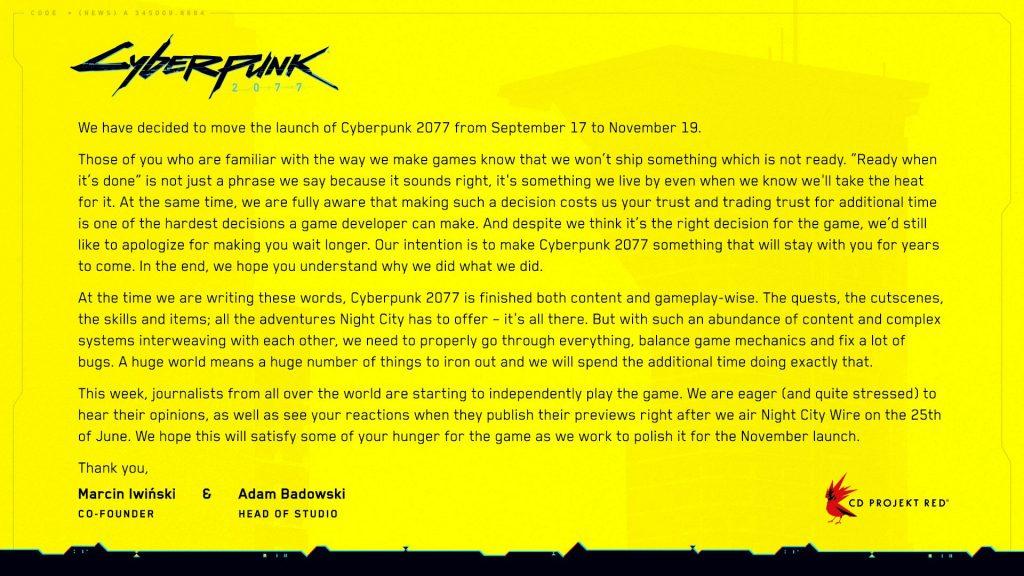 Cyberpunk 2077 June 2020 Delay